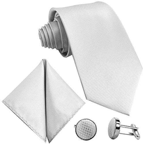 GASSANI GASSANI 10cm Breite Herrenkrawatte Krawattenset Weisse Karo-Muster, Hochzeitskrawatte Herrenschlips Einstecktuch Manschettenknöpfe