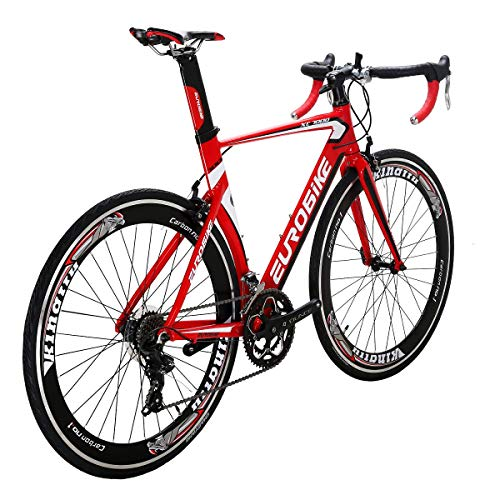 Eurobike XC7000 Road Bike Aluminum 54cm Frame 700C Wheels14 Speed Road Bicycle Red