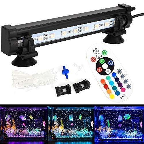 DOCEAN Aquarium Air Bubble Beleuchtung Luftblase LED Lichtleiste SMD 5050 9LEDs DC12V Wasserfest IP68 Licht Bar + 24 Tasten RF Fernbedienung mit EU Stecker Für Aquarium Fisch Tank, RGB, 18CM