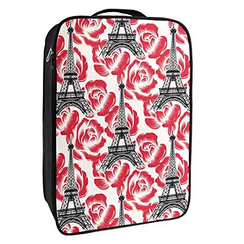 Caja de almacenamiento para zapatos de viaje y uso diario Paris Rose Torre Eiffel bolsa organizador portátil impermeable hasta 12 yardas con doble cremallera 4 bolsillos