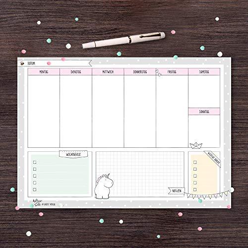 Schreibtischunterlage Papier A4, Wochenplaner, Ideal als Block, Einhorn von Katz+Tinte   Schreibunterlage, Tischunterlage aus Papier zum Abreißen   Notizblock, Wochenplaner