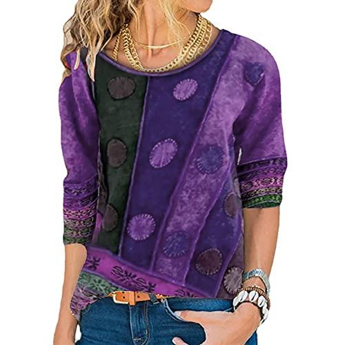 Mayntop Womens Tops Ethnic Striped Flat Hem Boho Tribal Polka Dots Spotted Long Sleeve Shirt Plus Size Crew Neck Loose Blouse(A Purple,M)