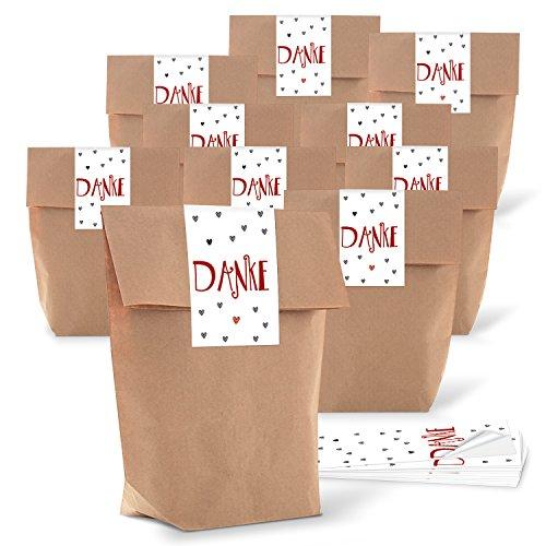 10 kleine braune Kreuzbodenbeutel 14 x 22 x 5,6 cm + 10 Aufkleber 5 x 15 cm DANKE rot graue HERZEN - Papier-Tüten give-aways Mitgebsel Verpackung als Dankeschön für Gäste Kunden Freunde