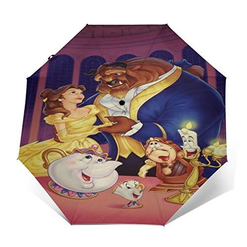 Ombrello anti-UV da viaggio a tre ante compatto con apertura/chiusura automatica, ombrellone da esterno leggero pieghevole antivento, Teiera Candeliere La Bella E La Bestia Disney