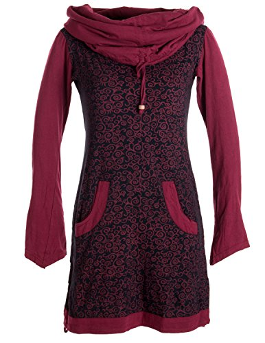 Vishes - Alternative Bekleidung - Bedrucktes Baumwollkleid mit Kapuzenschalkragen und Taschen schwarz-dunkelrot schwarz-dunkelrot 44