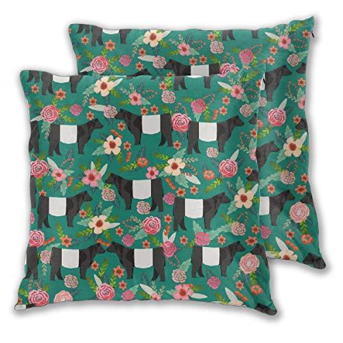 Funda de cojín con cinturón Galloway Floral Vaca Tela Floral Tela de vaca de vaca de tela de ganado de animales de granja, tela de granero, juego de 2 fundas de almohada cuadradas para sofá, silla, sofá, dormitorio, fundas de almohada decorativas