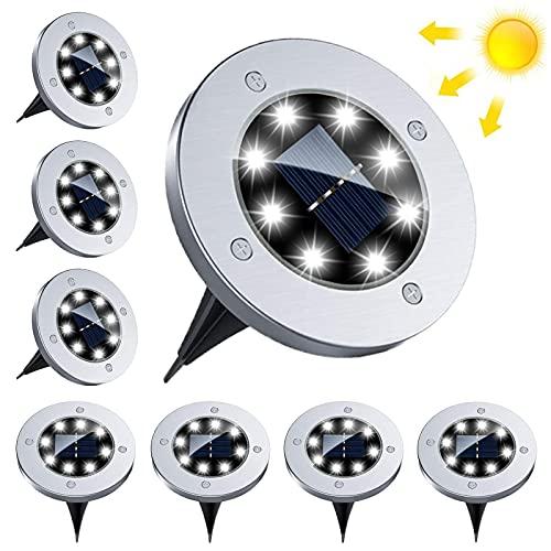 BOZHZO Luces Solares para Exterior Jardin, Luz Solar Exterior 8 LED Lámparas Solares para Jardin impermeabilidad IP 65 para Terraza, Calzada, Césped, Escalón, Escalera(Blanco Frío 8 Piezas)