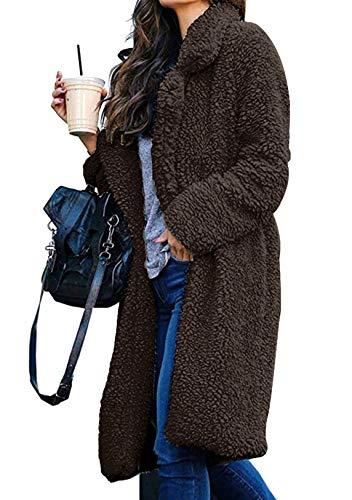OMZIN Frauen Mantel Mode Warm Streetwear Winter Für Plüschjacke Lange Outwear Revers Damen Casual Mantel Winterjacke Parka Outwear Braun M