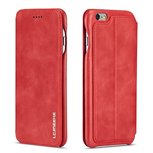 QLTYPRI Case for iPhone 6 Plus/6S Plus, Vintage Slim Magnetic Closure PU Leather Case with Stand Function & Credit Card Slot Holder Shockproof Flip Wallet Cover for iPhone 6 Plus/6S Plus - Red