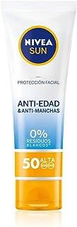 NIVEA SUN Protección Facial UV Anti-edad & Anti-manchas FP50 (1 x 50 ml) protector solar facial crema antiedad 0% residu...