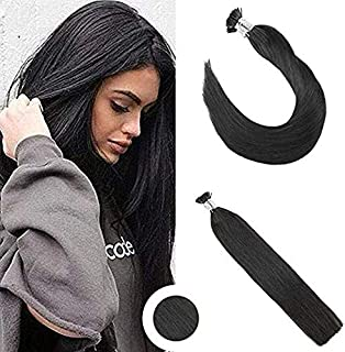 Ugeat 22 Inch Remy Brazilian Hair Extensions Fusion I Tip Human Hair #1B Off Black Remy I Tip Hair Extensions 40 Gram 50 Strands