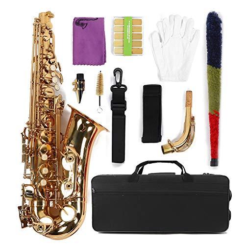Sassofono 802 Chiave, Campana intagliata a Mano in Mi bemolle Bianco Naturale con Bottoni a Conchiglia Sassofono Contralto, Strumento Musicale a fiato, Altezza Regolabile in Oro per Bambini