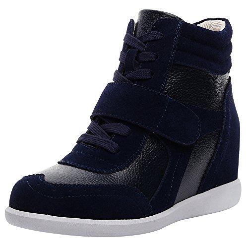 rismart Mujer Tacón De Cuña Velcro Brogue Casual Ante Zapatillas Zapatos SN8599A(Azul Marino,39 EU)