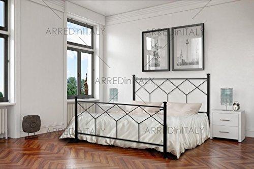 Letto Matrimoniale in Ferro Colore Nero Grafite con PEDIERA PREDISPOSTO per Rete con Piedini 160 X 190 CM. Non Inclusa - Prodotto Made in Italy - ARR038