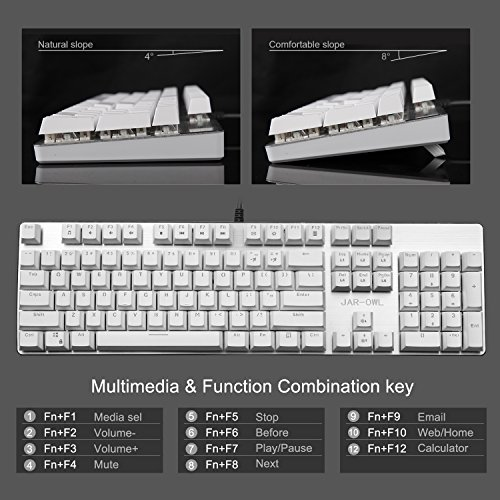 Black Fulloon Backlit Mechanical Gaming Keyboard Multicolor LED Backlight Tactile Mechanical Keyboard with DIY Blue Switches Anti-ghosting 104 Keys Waterproof