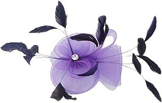 Matrimonio Piuma Fantasia Ascot Corsa Fascinator Sugli Accessori Clip Di Capelli Viola