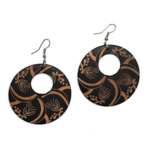 Pendants d'oreille Idin noirs à fleurs en forme de croissanten bois gravé avec crochet (Longueur approx. 70mm, bois : 50x 2mm.)