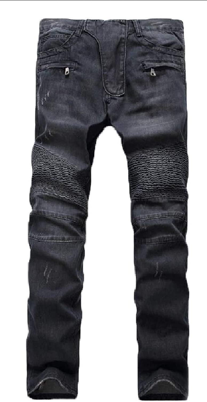 3245c88c3fdae7 Qiangjinjiu Men Men Men Skinny Jean Stretch Slim Fit Destroyed Ripped Holes  Denim Pant e64222