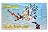 Fahne / Flagge Hurra Ich bin da - Zur Geburt + gratis Sticker, Flaggenfritze®