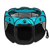 ペットサークル 折りたたみ BIGWING 八角形 プレイサークル 犬 猫 兼用 コンパクト メッシュ お出かけ用品 (L, ブルー)