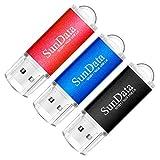 SunData Memorias USB 3 Piezas 16GB PenDrives 16GB Unidad Flash USB2.0 Pen Drive con Luz LED (3 Colores: Negro Azul Rojo)