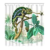 Moslion Animal Bath Shower Curtain Set Chameleon Eating Bugs Lizard Tree Leaves Grass Shower Curtains Home Decorative Waterproof Polyester Fabric Hooks 72x90 Inch