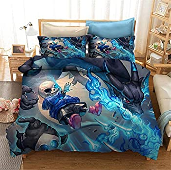Yumhi Kids Comforter Cover Undertale Decorative 2 Piece Bedding Set with 1 Pillow Shams Bedding Duvet Cover Set Twin