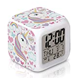 DTMNEP Unicorn Alarm Clock for Kids Girls Room, LED Digital Bedroom Alarm Clock Easy Setting Cube Wake Up Clocks with 4 Sided Unicorn Pattern Soft Nightlight Large Display Ascending Sound