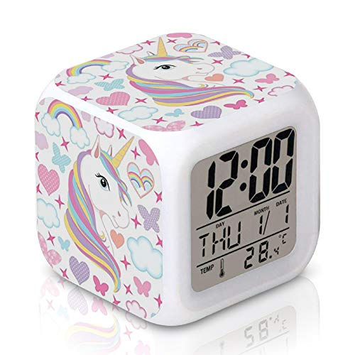 DTMNEP Unicorn Alarm Clock for Kids Girls Room, LED Digital Bedroom Alarm Clock Easy Setting Cube Wake Up Clocks with 4 Sided Unicorn Pattern Soft Nightlight Large Display Ascending Sound