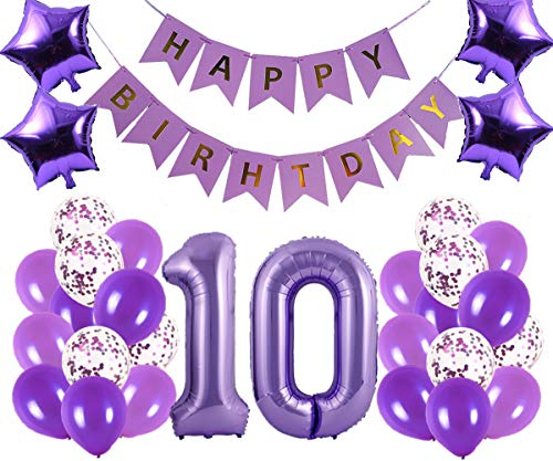 10th Birthday Party Decorations Kit Happy Birthday Banner with Number 10 Birthday Balloons for Birthday Party Supplies 10th Purple Birthday Party Pack