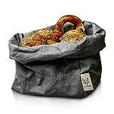 bun-di Swiss® - KREMPELBOX XL | Großer Brotkorb, Paper-Bag, Utensilo, Deko-Übertopf, Geschenkbox | Waschbares Papyr mit Lederoptik (Veganes Leder) | Ø 20cm (Anthracite)
