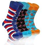 Sesto Senso Lustige Bunte Verrückt Socken Baumwolle Damen Herren 3 Pack Gemusterte Ungleiche Funny Socks Oddsocks Krabbe Orange Getränke 43-46 3 Sommer