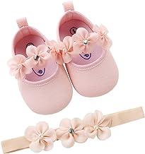 EDOTON 2 Pcs Kleinkind Schuhe+ Stirnband, Baby Mädchen Blumen Schuh Anti-Rutsch-Weiche Besondere Anlässe Taufe Hochzeit Party Schuhe