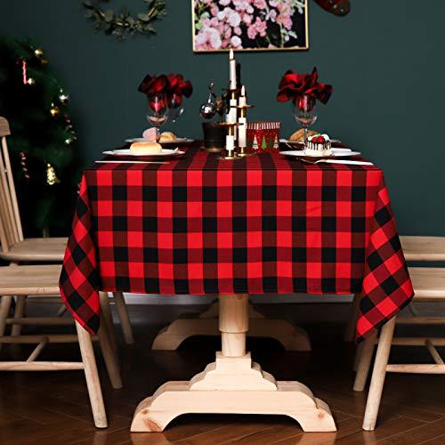 DJUX Mantel a Cuadros Rojo y Negro Fiesta Navidad Mantel Estilo nórdico teñido en Hilo 60x60cm