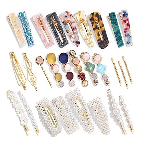 Sensiabl Pinzas de pelo de resina acrílica hechas a mano Clips de mármol cocodrilo clips de cristal geométrico horquillas elegantes accesorios para el cabello #6