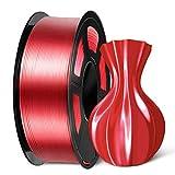 SUNLU PLA Silk Red Filament 1.75mm, 3D Printer Filament, Shiny Silk 1.75 PLA Filament, 1kg(2.2Lbs)/Spool, Red Silk PLA