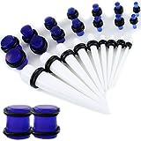 Gauge Gear® Stahlbürsten/weiß Ohr Expander Kit weiß Ohr Taper Kit und Blue Glow-Plug Set 1,3–mm–10mm