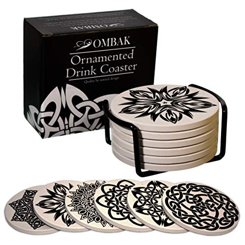 Coaster for Drinks by OMBAK, Extra Large and Absorbent, Ornamented with 6 Timeless Unique Celtic Knots to Accent Any Decor, Set of 6 with Holder for Living Room Kitchen Or Office
