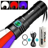 [page_title]-Wurkkos WK30 Multifunktionale Taschenlampe,Triple Reflektor mit 3 verschiedenen Lichtquellen,Weiß/Rot/UV-Taschenlampe wiederaufladbar USB Anschluss und kompatibel mit 18650 21700 26650 Akkus