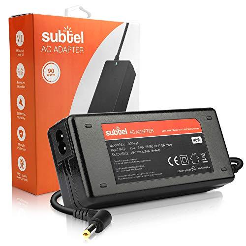 subtel Fuente de Alimentación 19V 90W Compatible con Medion Akoya/Compatible con ASUS F751L / Compatible con Toshiba Equium, Portege, Satellite, Tecra- Cable Corriente 2.6m Cargador Rapido