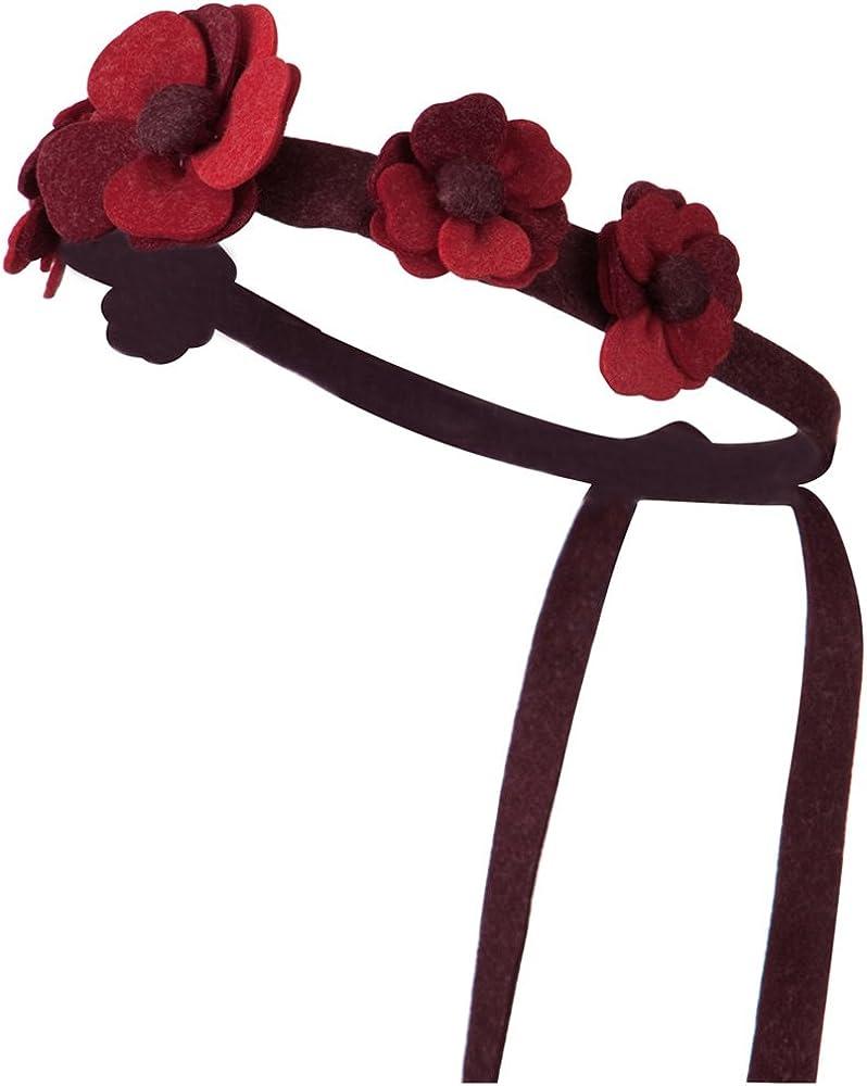 Felt Daisy Chain Tie Back Hair Band - Red W01S32A
