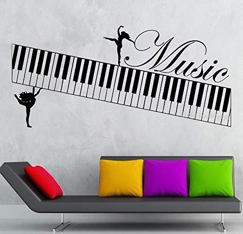 Musik-Wandsticker, Motiv Muse, Klavier, Musikinstrument, Vinyl, selbstklebend, für Kunst, Wohnzimmer, Tanzsaal, Dekoration, Hintergrundbild, 90 x 42 cm