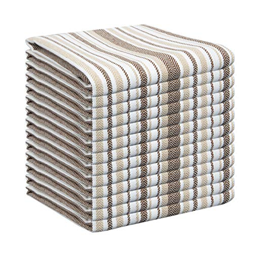GLAMBURG Kitchen Dish Towels Cotton 18x28 Set of 12, Kitchen Dish Cloths, Tea Towels, Bar Towels, Durable Soft and Absorbent Dish Towels Cotton - Coffee