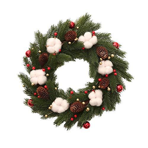 Guirnalda de pino de algodón natural secado con forma de granja y relleno de flores artificiales para decoración de la puerta delantera de Acción de Gracias guirnalda decorativa