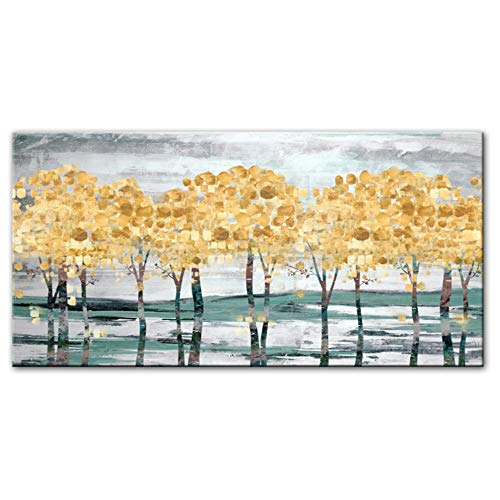 JinYiGlobal Imprimir en Lienzo Nordic Wall Art Abstract Golden Modern Trees Pop Art The Wall Posters Prints Home Canvas Decor Paintings 40x120cm (15.7