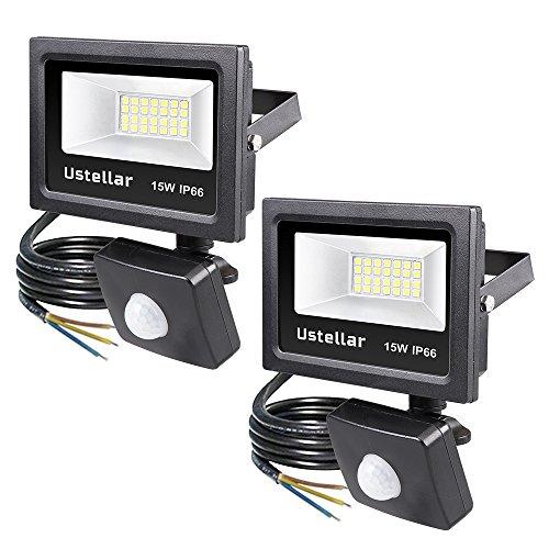Ustellar Lot de 2 Projecteur LED Détecteur de Mouvement Extérieur 15W, IP66 Etanche, 1200lm, 5000K Blanc du Jour, Eclairage de Sécurité, Lumière Spot Lampe Murale Jardin