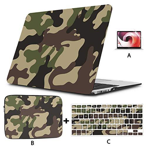 Macbook Pro 2017 Estuche Camuflaje Protector Militar Estilo Fresco Accesorios Mac Book Pro Carcasa Dura Mac Air 11'/ 13' Pro 13'/ 15' / 16'con Funda para portátil para Macbook Versión 2008-2020