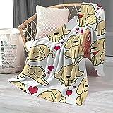 Cartoon Dog Blanket for Boys Kids, Velvet Plush Home Fleece Throw Blanket for for Adults, Kids, Boys, Girls, and Dogs, Fleece Dog Blanket, Bed Couch and Sofa Decor (Labrador Retriever,40x50 in)