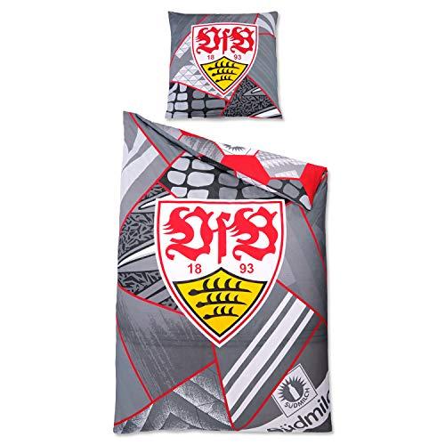 VfB Stuttgart Bettwäsche 100{f63e59cfd2a8582b229919e8822ecf172add157fdcb9534bf4941522ae8746b9} Baumwolle Kissen 80x80cm Decke 135x200 cm Design Tradition (schwarz-weiß rot)