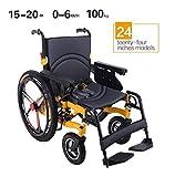 HJH-silla de ruedas eléctrica Luz silla de ruedas plegable portátil de energía de parasitismo - 24 Inchs Silla de ruedas eléctrica for los ancianos, discapacitados y hemiplejía pacientes, puede soport